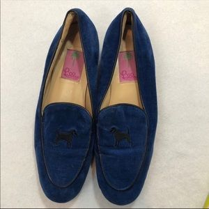Lilly Pulitzer Blue Corduroy Dog Loafers Size 8.5
